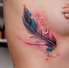 Feather Colorful Watercolor Tattoo Ideas - MyBodiArt.com