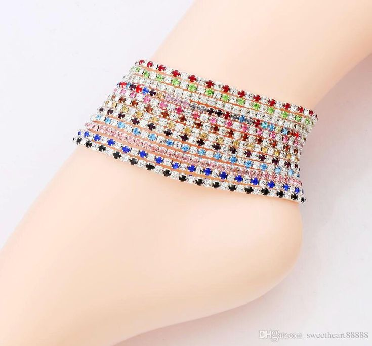 Wholesale cheap crystal anklets online, copper   - Find best  2016 12colors silver plated fresh full clear colorful rhinestone czech crystal circle spring anklets body jewelry at discount prices from Chinese barefoot sandals supplier - sweetheart88888 on DHgate.com.