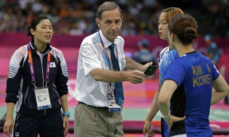 Olympic badminton players charged with trying to lose their games  London 2012: Badminton World Federation acts after farcical matches in which eight women's doubles competitors from China, South Korea and Indonesia appeared to play poorly on purpose.    http://www.bbc.co.uk/sport/0/olympics/19091234