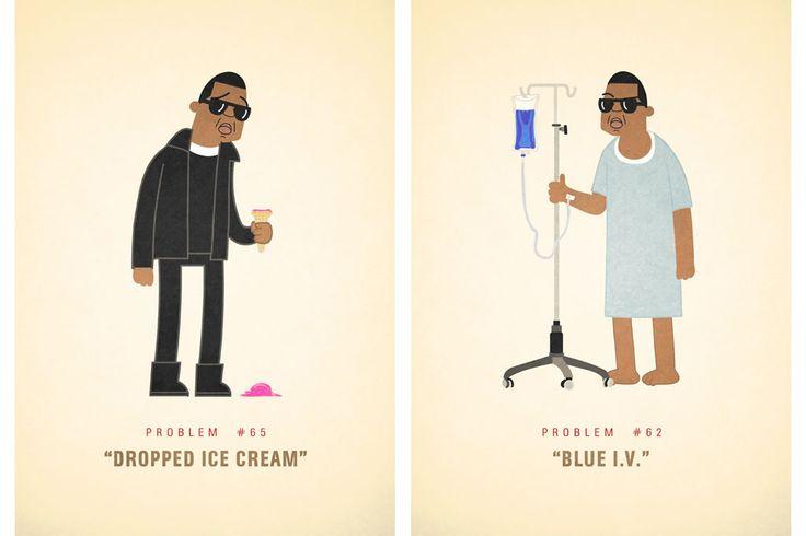 """Jay Z tem 99 problemas — não somos nós a dizê-lo, é ele mesmo, em """"99 Problems"""". Ali Graham decidiu homenagear o rapper norte-americano e criou um"""