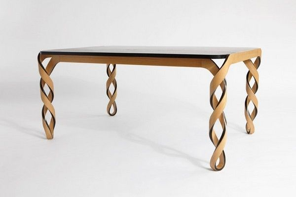 Elegant Table with Legs Inspired by the Structure of DNA  by Paul Loebach