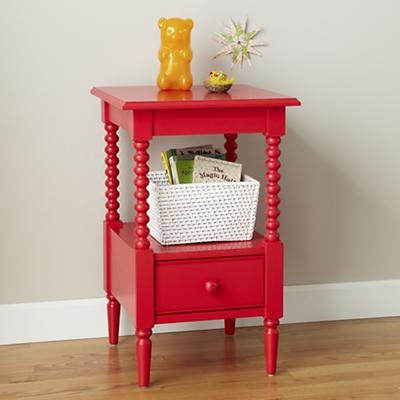 Kids' Nightstand: Kids Raspberry Red Spindle Nightstand in Nightstands  Land of Nod - LOVE