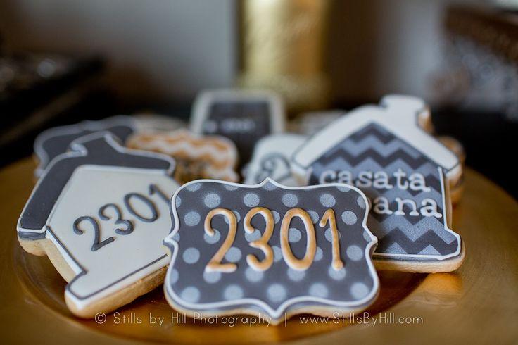 Glittery Family Milestone Celebration - Neutral + Gold Housewarming cookies by…