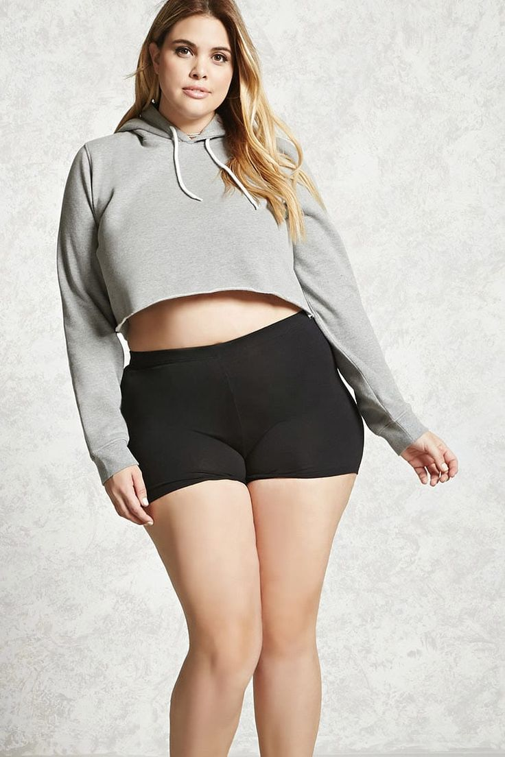 Forever 21+ - A pair of athleisure-inspired basic shorts in a stretch knit fabric and an elasticized waistband.