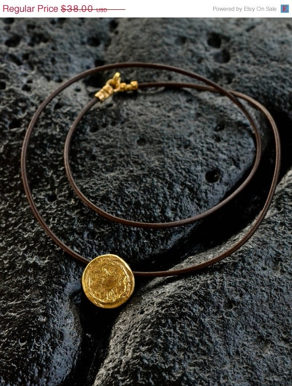 Gold Circle Necklace 18karat gold plated, textured gold, leather cord, Men's gift, ancient look, small pendant, thanksgiving gift,