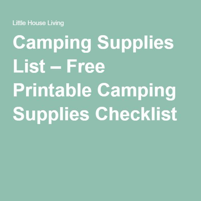 Camping Supplies List – Free Printable Camping Supplies Checklist