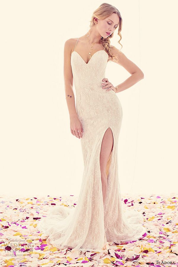 ti adora weding dress spring 2015 lace trumpet gown side front slit sweetheart neckline spaghetti straps low open back 7504 theia