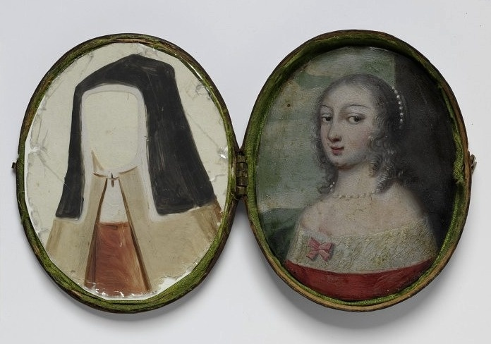 """1650, Oil miniature painted on copper and set in leather case, came with a number of costume details painted in opaque color on sliver os transparent mineral known as """"talc"""" (pieces of mica). The owner could dress up the subject in different costumes by laying on the """"talcs"""" one at a time."""