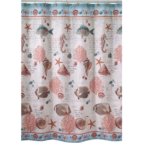 Avanti  Seaside Vintage Shower Curtain ($41) ❤ liked on Polyvore featuring home, bed & bath, bath, shower curtains, multi, seashell shower curtains, coral shower curtains, ocean shower curtains, sea shell shower curtains and vintage shower curtains