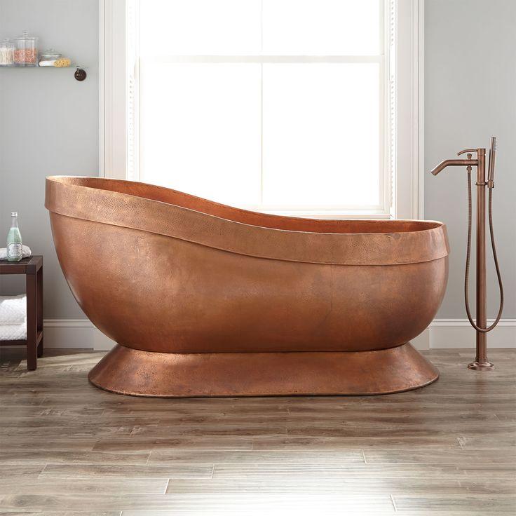 """67"""" Elin Hammered Copper Slipper Pedestal Tub"""