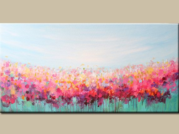 acrylic painting-abstract art- Flowers painting- Landscape -abstract painting-blossoms-teal, turquoise-pink
