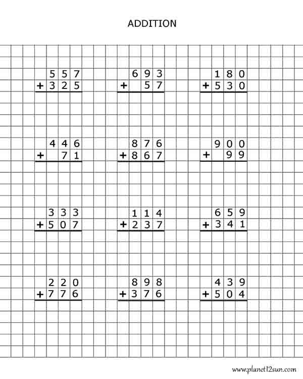 Addition with regrouping worksheets on graph paper