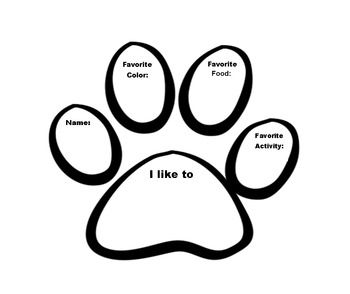 Getting to know you activity in paw print.  These can be used on a bulletin board with the school mascot for the beginning of school....
