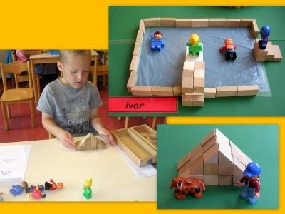 Bouwen Foto Fien bewaart dit soort foto's graag in haar Bouwmap om kinderen te inspireren soortgelijke bouwwerken te maken. Spelend rekenen, domein meetkunde.