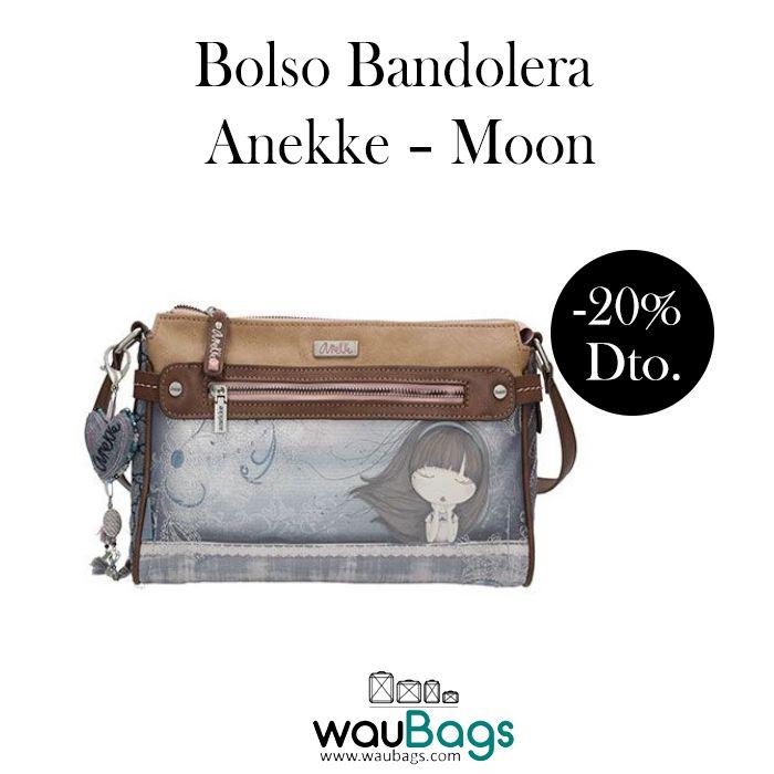 """Bolso Bandolera Anekke """"Moon"""", con compartimento principal con cremallera, varios bolsillos interiores y 2 bolsillos exteriores, uno en la parte delantera y otro en la parte trasera, ambos con cierre de cremallera.  Con correa regulable para llevar el bolso colgado al hombro o bien en bandolera. @waubags.com #anekke #bolso #bandolera #muñecas #complementos #oferta #descuento #rebajas #waubags"""