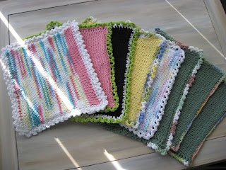 Knitting Machine Dishcloths - I love the mix of machine knitting and hand crocheting in this project. I have made a baby blanket using a similar technique because once these squares are made, you can use them for more than dishcloths.