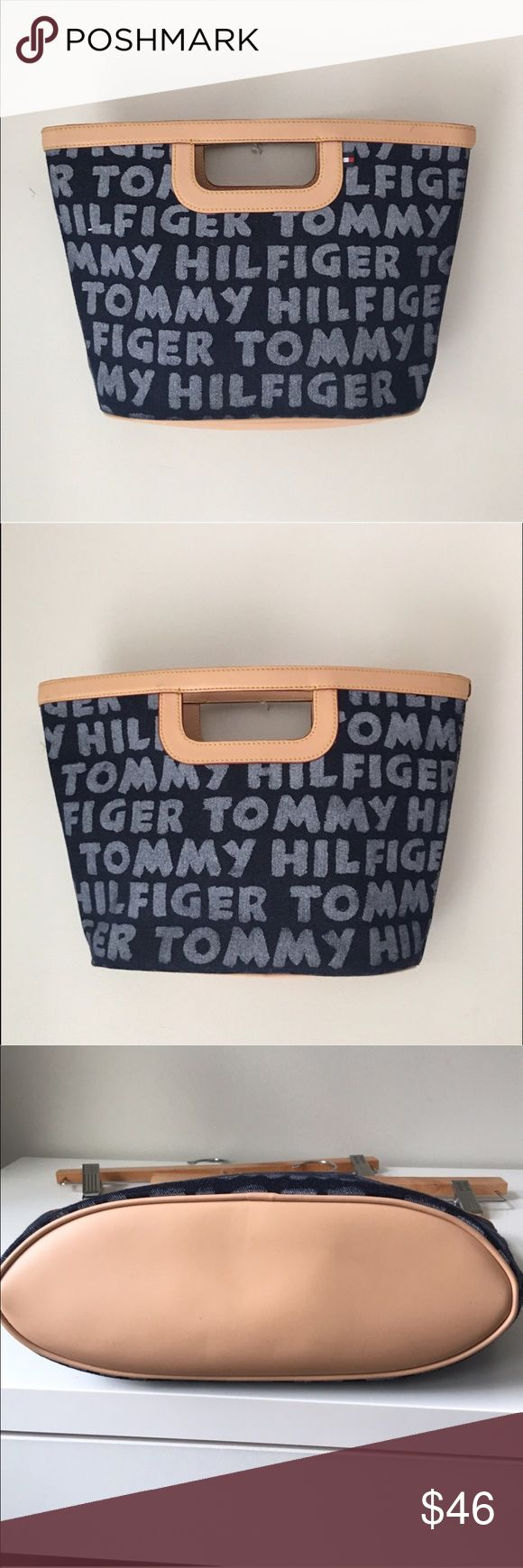"Tommy Hilfiger Denim Clutch Handbag Gorgeous Denim Logo ""chalkboard style"" Tommy Hilfiger Clutch Handbag. 10 1/4"" Wide X 3 7/8"" Deep X 9 1/4"" Long. One scuff mark in upper right - see pic #2). Excellent preowned condition. Tommy Hilfiger Bags"