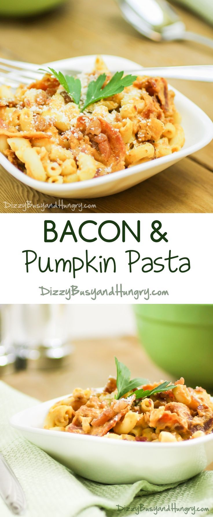 Bacon and Pumpkin Pasta #SundaySupper Healthy AND delicious! You gotta try this! http://www.dizzybusyandhungry.com/bacon-and-pumpkin-pasta/