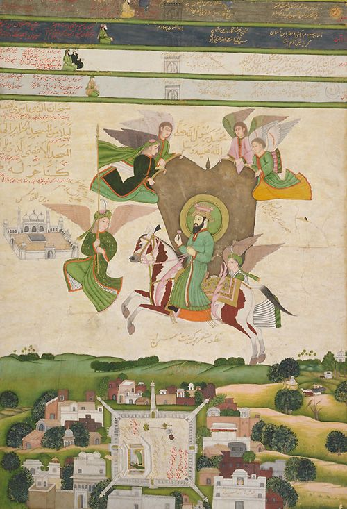 ascension of the prophet by angels 1800 dehli