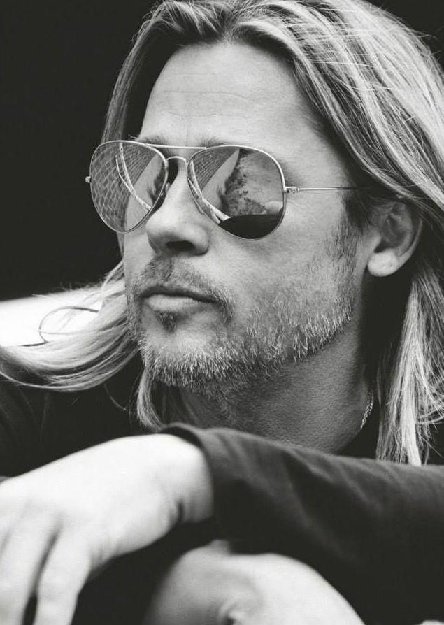 Brad Pitt wearing polarized aviator sunglasses.  Shop Similar styles at Emblem Eyewear