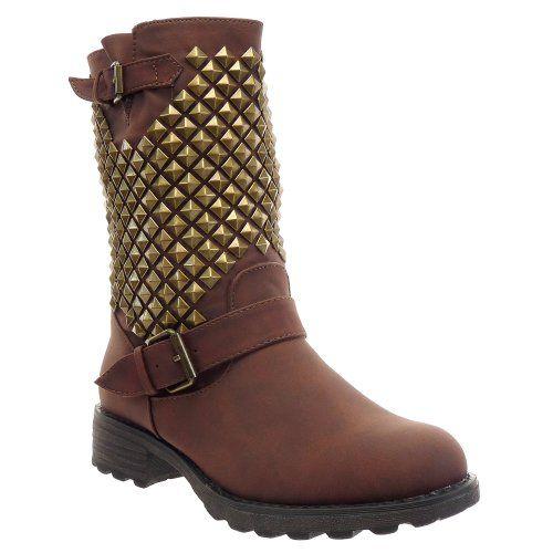 In Offerta! #Offerte Abbigliamento#Buoni Regalo   #Outlet Kickly - Scarpe da Moda Stivaletti - Stivali Scarponi al polpaccio donna borchiati quadrata piramide Tacco a blocco 3.5 CM - Marrone disponibile su Kellie Shop. Scarpe, borse, accessori, intimo, gioielli e molto altro.. scopri migliaia di articoli firmati con prezzi da 15,00 a 299,00 euro! #kellieshop #borse #scarpe #saldi #abbigliamento #donna #regali