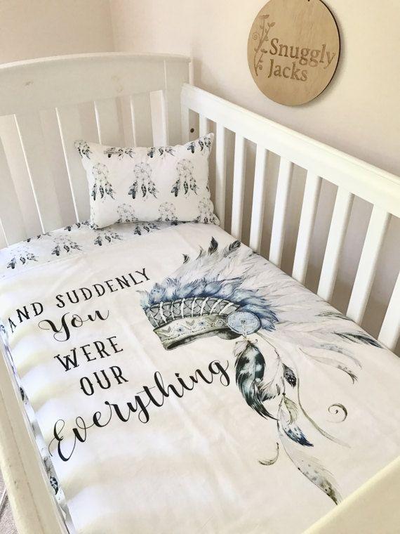 NURSERY SET Boy Cot / Crib Quilt Blanket Everything Headdress