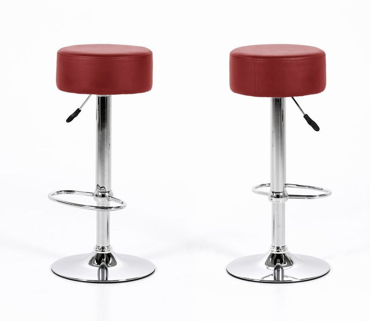 Elaine barstol - Traditionel rund barstol med rødt kunstlæder og stel i krom. Flot barstol til køkkenet eller den private bar med trompetfod samt hæve/sænke funktion med gaspatron.