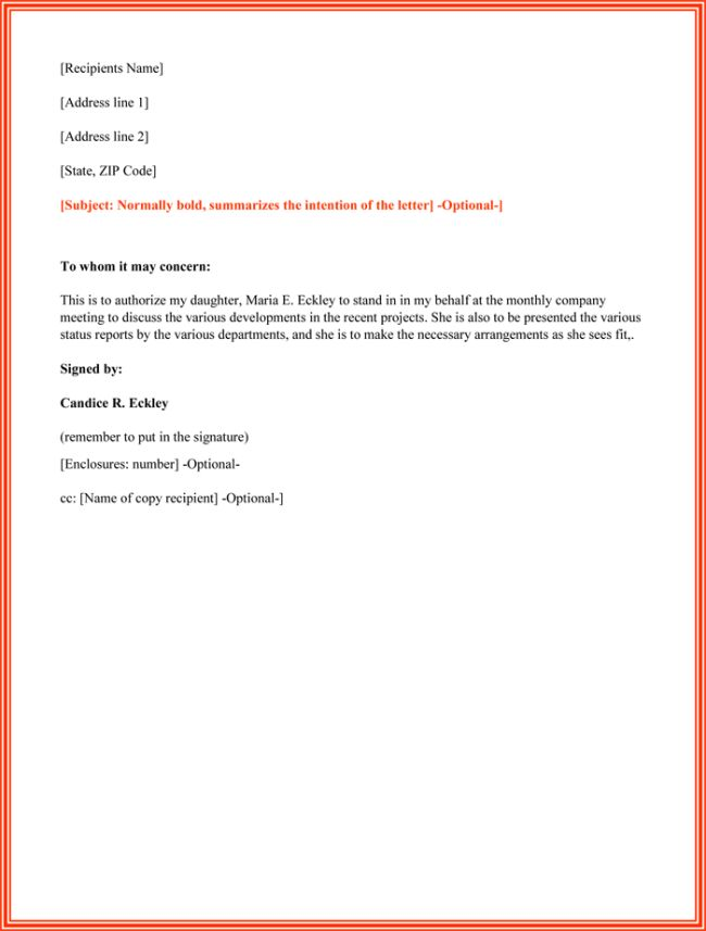 authorization letter sample printable formats format authority best template collection