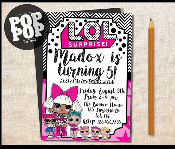 Printable LOL Surprise Themed Birthday Invitation Customized Lolsurprise Birthdayparty Lolsurpriseparty Invite