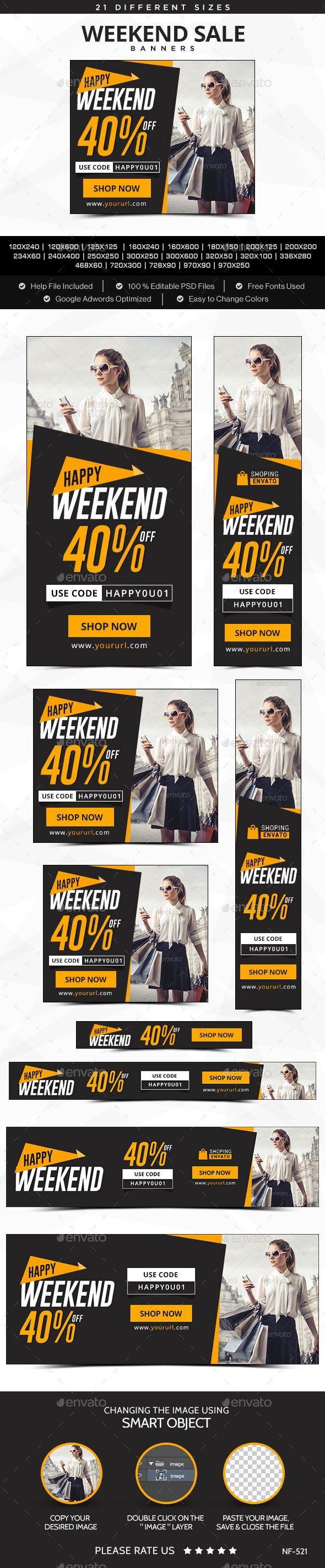 Weekend Sale Banners Template #design Download: http://graphicriver.net/item/weekend-sale-banners/12213956?ref=ksioks