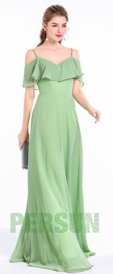 Robe élégante de soirée longue verte mente épaules découvertes avec bretelles fines à volants jupe fluide