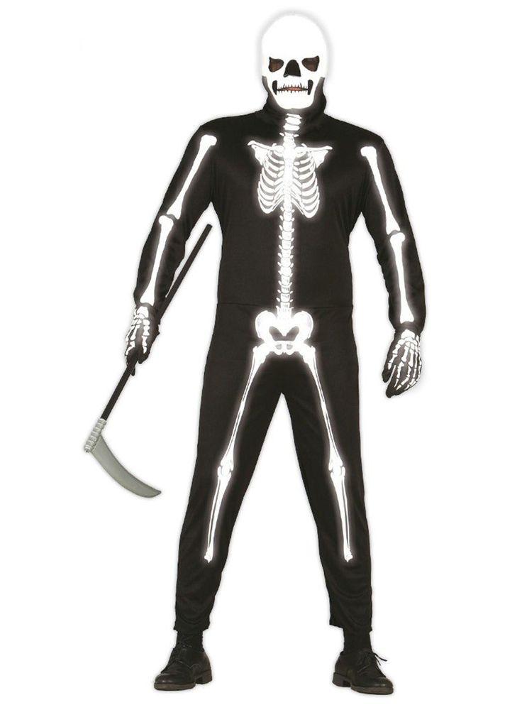 Disfraz de esqueleto fosforescente para hombre