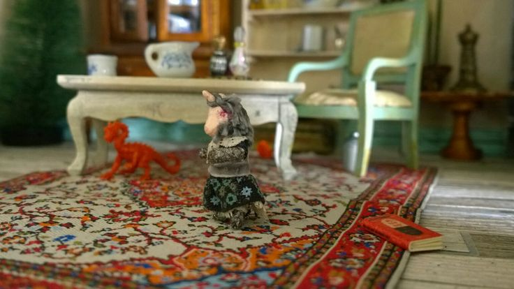 Abandoned Dollhouse 1:12 scale. Miniature toys. Handmade nostalgia unicorn doll.