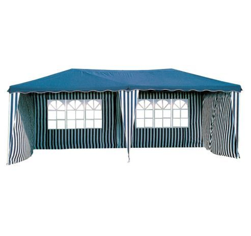 Bentley Garden 6m x 3m Large Gazebo - Blue & White Striped