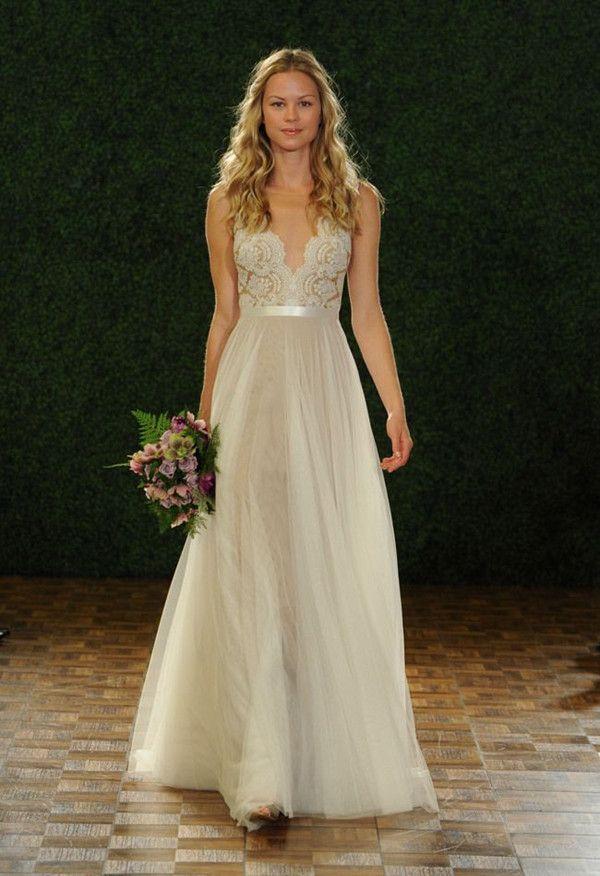Watters Fall wedding dress Boho chic Hochzeitskleider mit dünnen Trägern