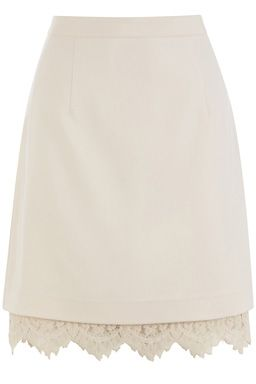 LACE TRIM SKIRT £45.00 Tailored mini skirt with lace hemline and concealed zip fastening to the side.