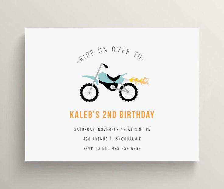 motorcycle birthday invitation set // baby shower invitation // kids birthday // motorcycle party // motor sports // dirt bike // note card by OliveandStar on Etsy https://www.etsy.com/listing/158337087/motorcycle-birthday-invitation-set-baby