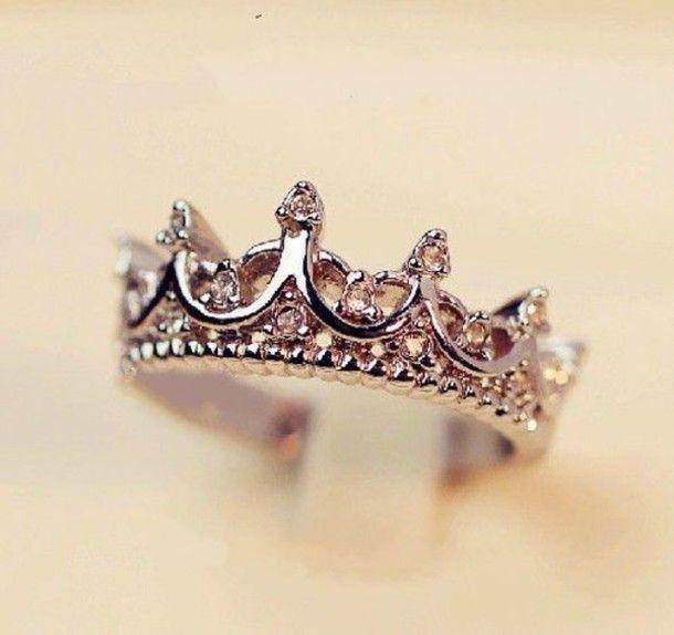 jewels tiara ring ring silver diamond princess disney cute girly crown tumblr tumblr girl fashion pandora girls chick vogue engagement ring ...