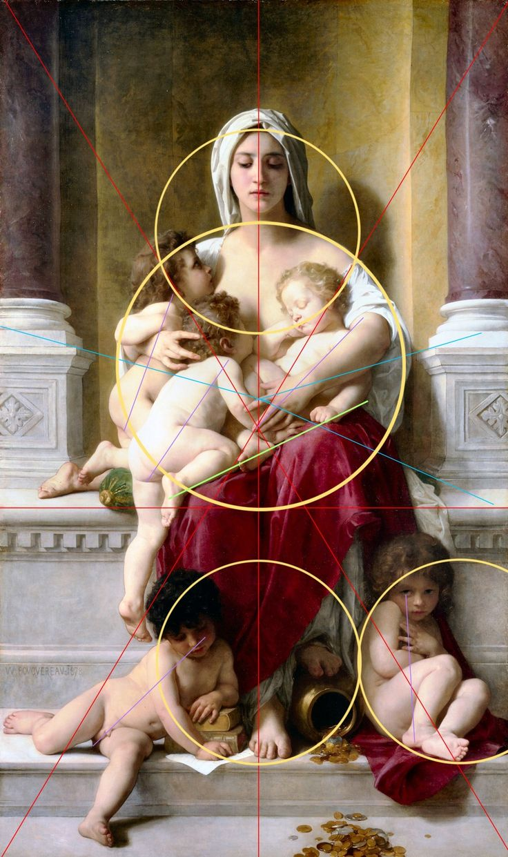 """- unclegrimace: La Charite (Charity) Analyzed Artist: William-Adolphe Bouguereau - Nezua: """"when i studied art history as an art major, i was very impressed with the meticulous thought that went into the compositional lines of every painting.   that was my introduction to seeing and feeling and creating the shapes unseen in a photo or drawing or painting that create harmony or dissonance, that allow you to work on the viewer without them needing to be aware of how."""""""