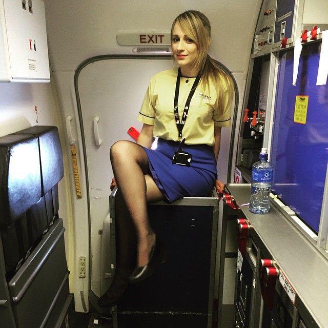 blonde flight attendant
