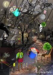 boy trees night moon milk cup illustration Ilona Reny