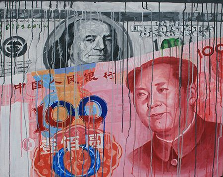 RMB vs. USD 2012  99.5 x 79cm Acrylic on canvas