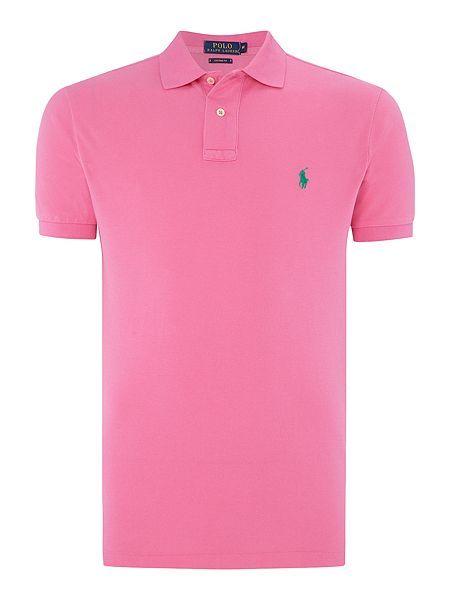 eb8e6dcf Polo Ralph Lauren Custom-Fit Short-Sleeve Polo Shirt - Hot Pink Mens Polo  Ralph Lauren Polo Shirts