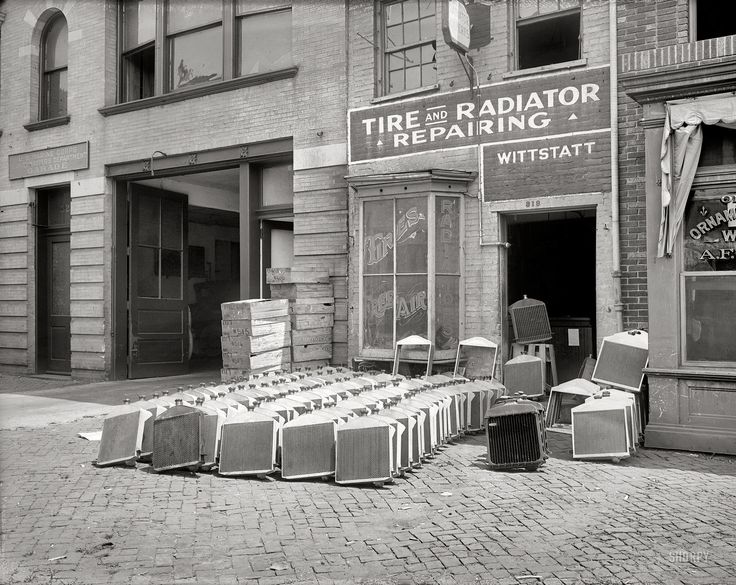 "Washington, D.C., circa 1920. ""Wittstatt radiator shop, 13th Street N.W."""