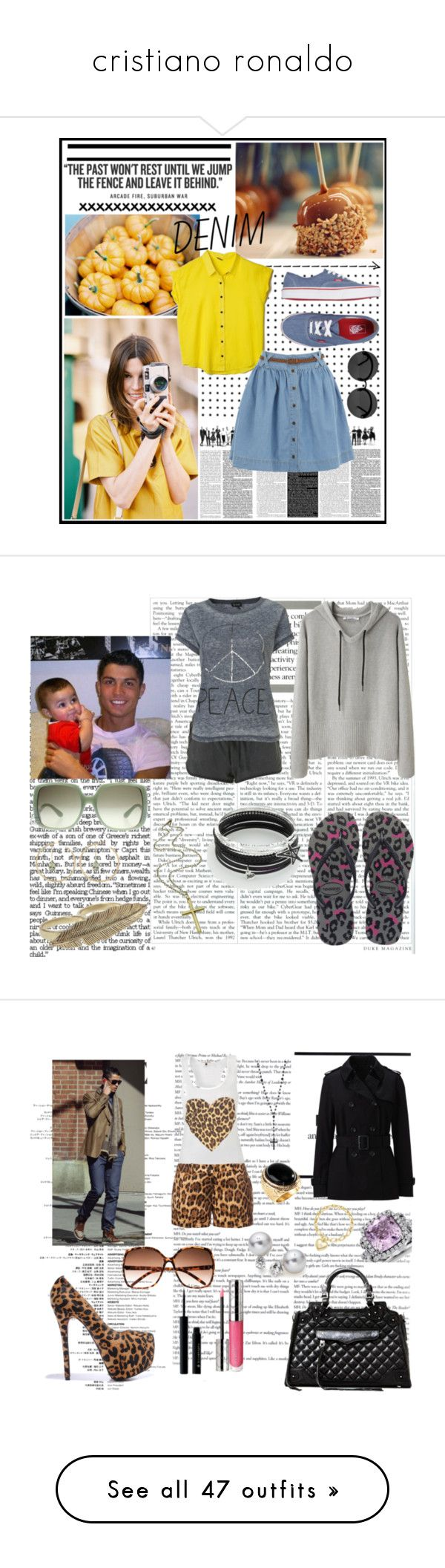 """""""cristiano ronaldo"""" by harybarbosa ❤ liked on Polyvore featuring Vans, Rebecca Minkoff, Le Specs, Oasis, pleated skirts, denim, blouses, granny glasses, sneakers and Topshop"""