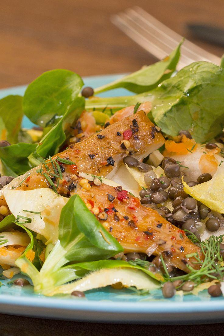 Linsensalat mit geräuchertem Fisch