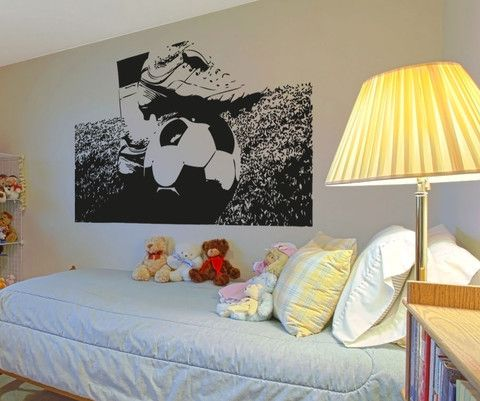 Nice Vinyl Wall Decal Sticker Soccer Ball And Cleats #5075