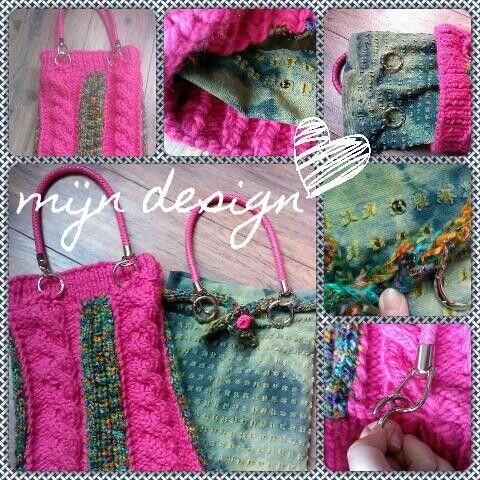 Gewoon gaan breien en naaien en naarmate je vorderd, volgt het resultaat vanzelf :-) Dit is een volledig eigen ontwerp.