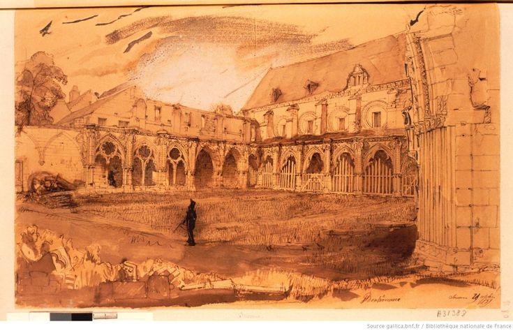 Soissons. [Vue de l'intérieur du cloître gothique de Saint-Jean-des-Vignes] : [dessin] / Bonhommé