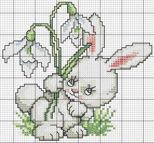 Gráficos de Ponto Cruz: Mais gráficos em ponto cruz de Coelhos para a Páscoa